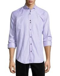 Bogosse Houndstooth Long Sleeve Sport Shirt Pink