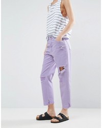 Asos Deconstructed Straight Leg Jeans In Lilac