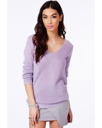 Missguided Ollie V Neck Fluffy Knit Jumper In Lilac