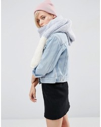 Chunky knit scarf with block end in pastel medium 832789