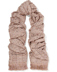 Fringed metallic crochet knit scarf blush medium 5083808