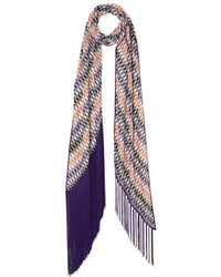 Missoni Fringed Crochet Knit Scarf Purple
