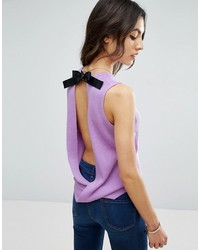 Asos Sleeveless Knitted Top With Contrast Tie