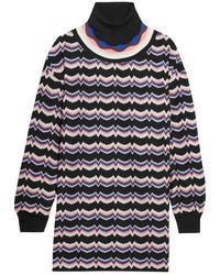 Missoni Wool Blend Crochet Knit Turtleneck Tunic Pink