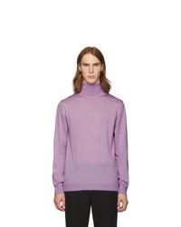 Tibi Purple Merino Wool Slim Fit Turtleneck
