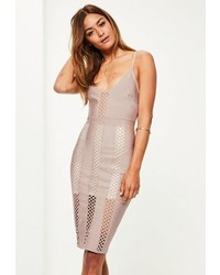 Missguided Purple Bandage And Lace Insert Midi Dress