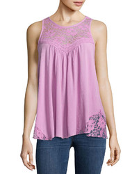 Woven lace yoke tank top juniors medium 1201457