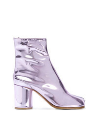 Light Violet Leather Ankle Boots