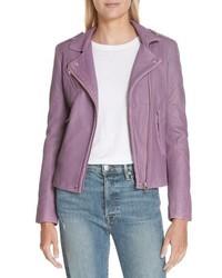 Light Violet Leather Biker Jacket