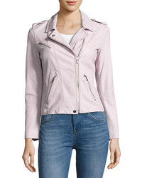 Rebecca Taylor Washed Lamb Leather Moto Jacket Lavender