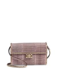 Valentino Garavani Ayers Rockstud Genuine Snakeskin Leather Shoulder Bag