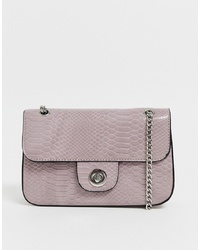 New Look Croc Chain Shoulder Bag In Lilac