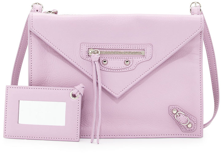 Balenciaga Paper Envelope Crossbody Bag Lavender Pink