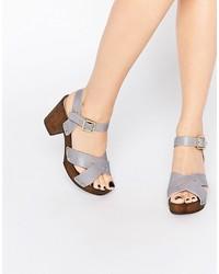 Light Violet Leather Heeled Sandals