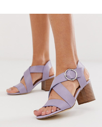 New Look Pu Block Heeled Sandal In Lilac