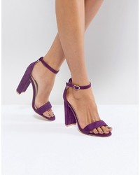 Glamorous Purple Barely There Block Heeled Sandals Mf