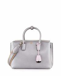 MCM Milla Medium Leather Tote Bag Gray