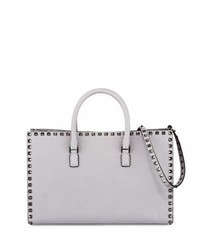 Valentino Rockstud Leather Top Handle Tote Bag Gray
