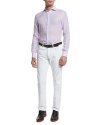 Light Violet Linen Long Sleeve Shirt