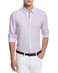 Ermenegildo Zegna Linen Woven Sport Shirt Lilac