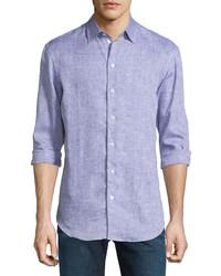 Armani Collezioni Melange Linen Button Down Shirt Purple