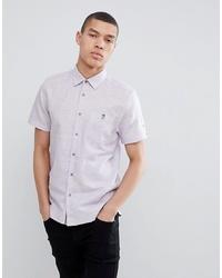 Ted Baker Slim Short Sleeve Linen Shirt In Lilac