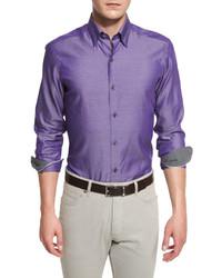 Polished solid long sleeve sport shirt purple medium 610029