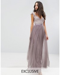 Swan tulle maxi dress with frill sleeve medium 3642762