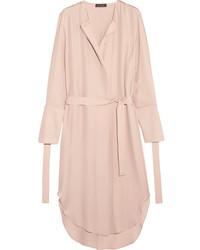 Calvin Klein Collection Leryn Belted Silk Georgette Midi Dress Lilac