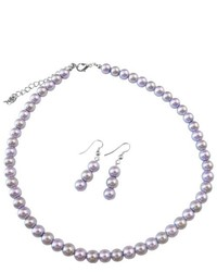 FashionJewelryForEveryone Inexpensive Light Lilac Victorian Lilac Wedding Pearls Necklace Set