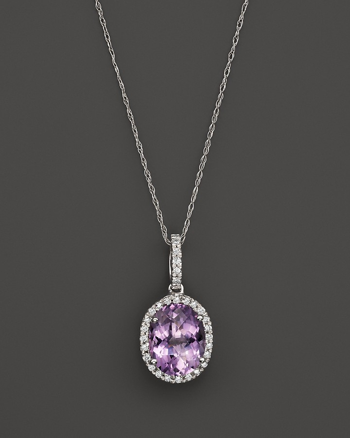 Bloomingdales amethyst and diamond halo pendant necklace in 14k bloomingdales amethyst and diamond halo pendant necklace in 14k white gold 16 mozeypictures Image collections