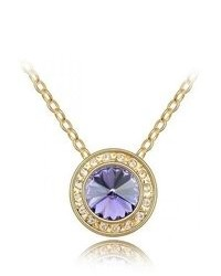 BlueChipUnlimited Blue Chip Unlimited Plum Purple Clear Crystal Circle Gold Pendant With 18 In 18k Rgp Necklace