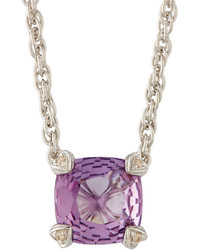 Cushion cut amethyst diamond pendant necklace medium 4416104