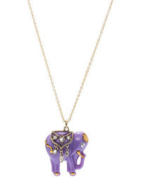 Romwe Diamante Elephant Pendant Necklace