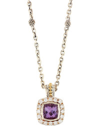 Lagos Prism Amethyst Diamond Pendant Necklace