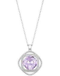 Swarovski Silver Tone Violet Crystal Orbital Pendant Necklace