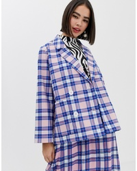 Monki Oversized Blazer With Tartan Print In Pink