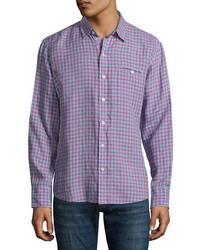 Zachary Prell Althoff Plaid Linen Sport Shirt