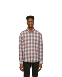 Naked and Famous Denim Grey And Pink Plaid Double Cloth Easy Shirt