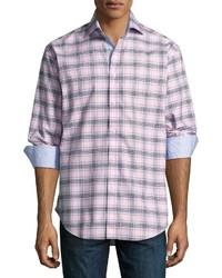 Thomas Dean Plaid Long Sleeve Sport Shirt Pink