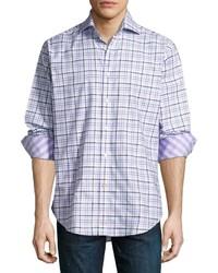 Thomas Dean Plaid Long Sleeve Sport Shirt Purple