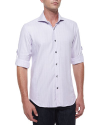 Bogosse Plaid Long Sleeve Sport Shirt Purple