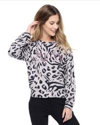 Light Violet Print Crew-neck Sweater