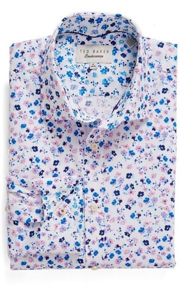 5d3d9899e91 ... Ted Baker London Hampshi Trim Fit Floral Print Dress Shirt ...