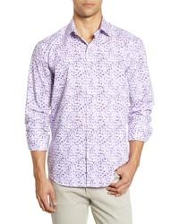 Bugatchi Shaped Fit Grid Print Button Up Shirt