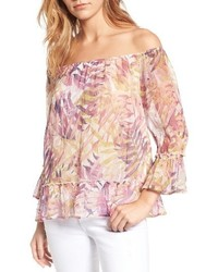 Lucky Brand Off The Shoulder Palm Print Top