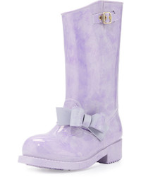 RED Valentino Bow Marble Print Mid Calf Rain Boot Purple
