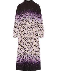 Prada Pleated Printed Dgrad Silk De Chine Midi Dress