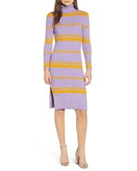 MOON RIVE R Stripe Turtleneck Sweater Dress