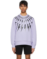 Neil Barrett Purple Fair Isle Thunderbolt Sweatshirt